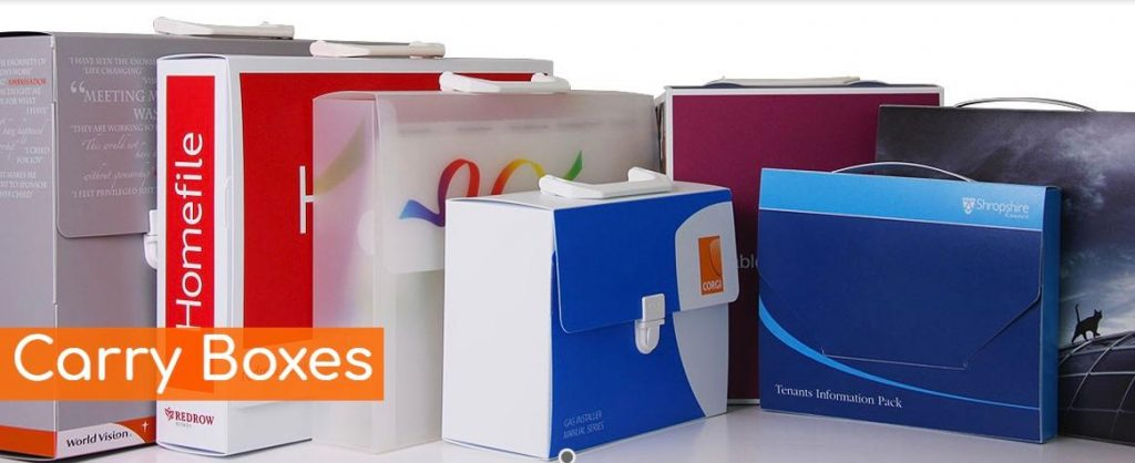 Printed polypropylene carry boxes